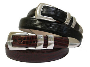 dc23a8818fef Details about Marin Silver Mens Leather Designer Golf and Dress Belt 1-1/8