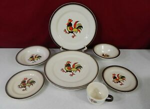 Image is loading 9-Pieces-Metlox-Poppytrail-Vernon-Red-Rooster-Dinnerware- & 9 Pieces Metlox Poppytrail Vernon Red Rooster Dinnerware Set | eBay