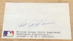 Vintage Washington Senators 1970-71 Bill Gogolewski Autograph Index Card