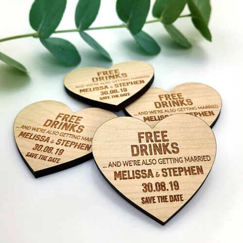 Wedding Save The Date Personalised Wooden Magnets Fridge Rustic Invitation Heart
