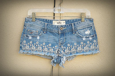 Hollister Size 5 Embroidered Flowers Destroyed Hot Mini Denim Short Shorts
