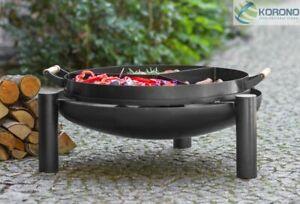 Feuerschale Ø 80 cm mit Grillpfanne und Untersetzer Feuerkorb Grillfeuer