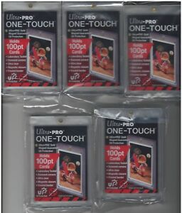 5-Ultra-Pro-One-Touch-100pt-Gold-Magnetic-Card-Holders-UV-Thick-or-Jersey-Cards