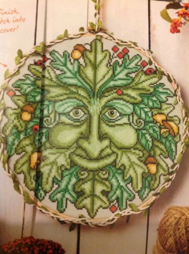 Spring Folklore Green Man Forest Tree Cross Stitch Chart H