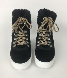b074c720c428 Sam Edelman Black Luther High Top Sneaker Womens 10 Faux Shearling ...
