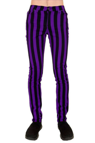 "Run /& Fly Purple /& Black 1/"" Striped Skinny Drainpipe Jeans Mod 60s Retro Indie"