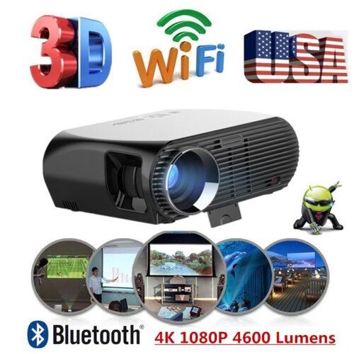 NEW ANDROID LED PROJECTOR WIFI 4K HD 1080P VIDEO THEATER CINEMA HDMI VGA RJ45 AV