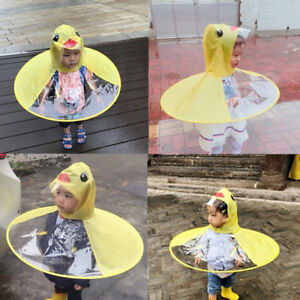 809773cdb Details about Rain Coat UFO Duck Kids Baby Children Umbrella Hat Magical  Hands Free Raincoat