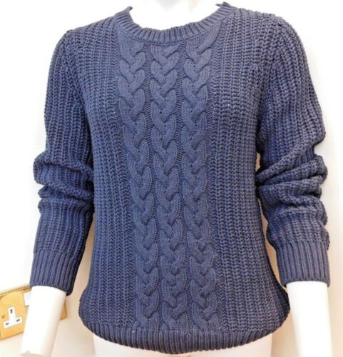 Nautica ladies Triple Cable Knit Scoop Neck Tunic Sweater 3 sizes NAVY BNWT