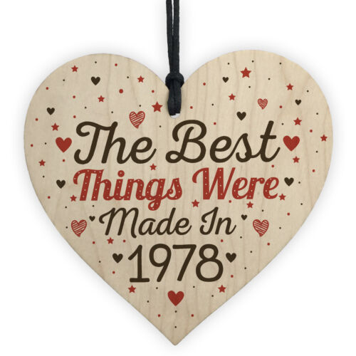 PERSONALISED Birthday Friendship Gift Year 30th 40th 50th 60th Wood Heart Plaque