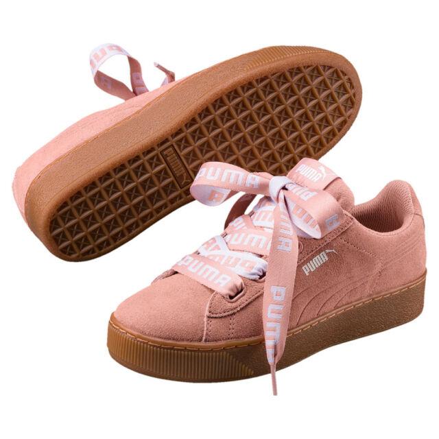 90b8c77c6f04 Puma Vikky Platform Ribbon Bold Leather Sneaker Women s Shoes 365314 02 Rosa
