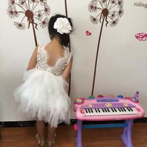 beautiful white lace applique open back tulle tutu flower