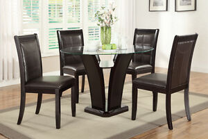 dark brown espresso glass top dining table and chair set kitchen