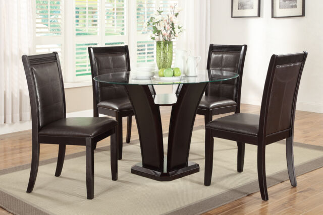 Modern Dark Brown Espresso Glass Top Dining Table and Chair Set Kitchen Dinette