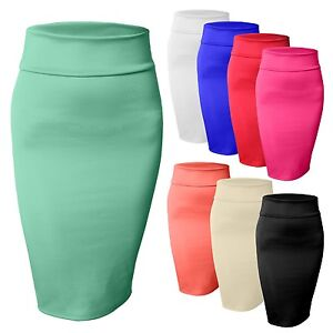Women's High Waisted Fitted Stretch Bodycon Plain Midi Pencil ...