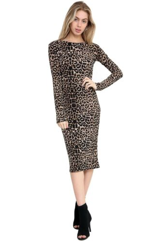Womens Ladies Leopared camouflage Tartan Bodycon Long Sleeves Midi Party Dress