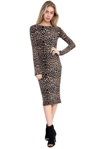 Grande Taille Femme Multi leopared SERPENT près du corps manches longues midi robe de soirée