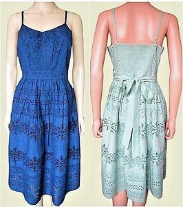 New-Ex-Monsoon-Navy-or-Mint-Broderie-Anglais-Cotton-Summer-Tea-Dress-Size-8-22