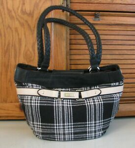 MICHE PURSE Black w Plaid Shell Handbag Over Shoulder Satchel BAG