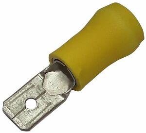 10x Cosse électrique Mâle Plate 6.3mm 0.8mm 2.5-6mm2 Isolée Jaune Exquis (En) Finition