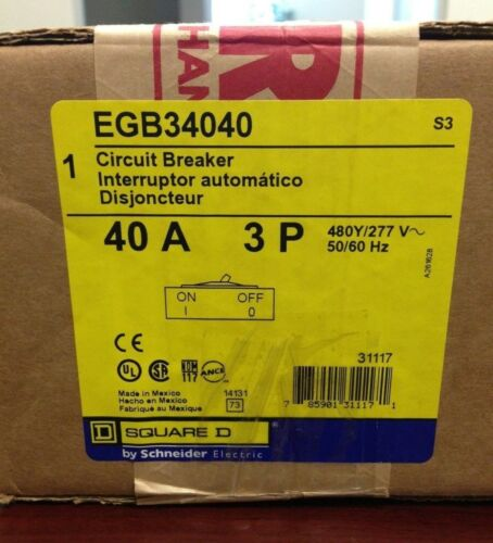BRAND NEW Square D EGB34040 Type EGB FREE SHIPPING 480Volts 40Amp 3Pole