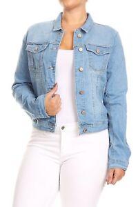 JKT102PS-Women-039-s-Plus-Size-Premium-Denim-Jackets-Long-Sleeve-Loose-Jean-Coats
