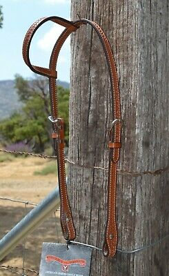 Circle Y One Ear Basket Tooled Headstall