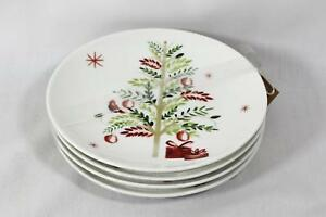 222-Fifth-Winter-Cheeer-Porcelain-White-Holiday-Appetizer-Plates-Set-of-4-New
