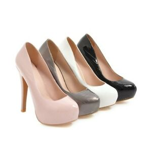d54fc4c0178 Image is loading Ladies-Party-Shoes-Synthetic-Leather-Inner-Platform-High-