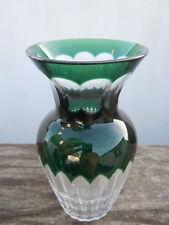 Vase cristal taillé doublé vert cristal Val Saint Lambert vers 1930