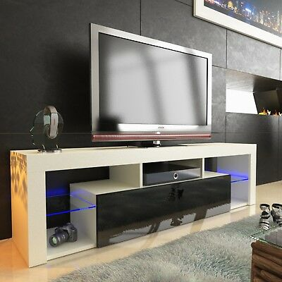 tv lowboard cabinet table board 130cm high gloss with rbg led lighting black ebay