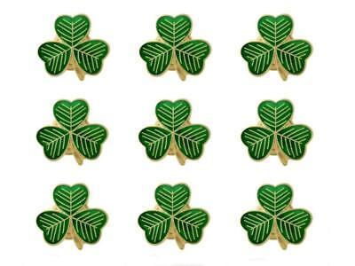 Irish Ireland Green Shamrock with Gold Detail Metal Pin Badge Lapel