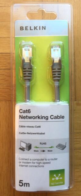 BELKIN Cat6 RJ45 5m LAN Netzwerk Kabel grau A3L980cp05M‑H‑S - NEU & OVP