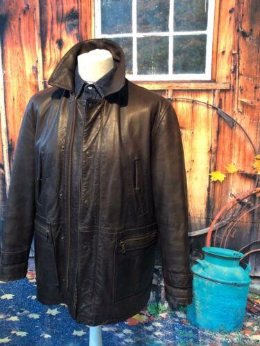 di e di in med di marrone pelle cappuccio stoffa cappotto flanella marrone vintage Strauss Levi`s con pv1qYY