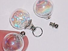 1 AB Glass Crystal Ball necklace Bottle fairy dust vial Screw top Globe Orb NEW