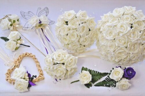 grooms buttonhole corsage bridesmaids posy Wedding bouquet white or ivory
