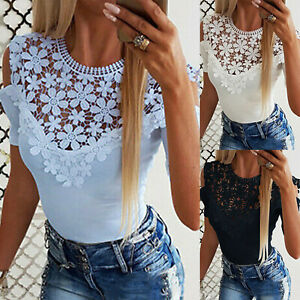 Women-Lace-Short-Sleeve-Cold-Shoulder-Tops-Blouse-Summer-Slim-Fit-Casual-T-Shirt