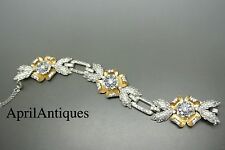 Vintage 40s unsigned Coro cocktail art deco flower rhinestones bracelet