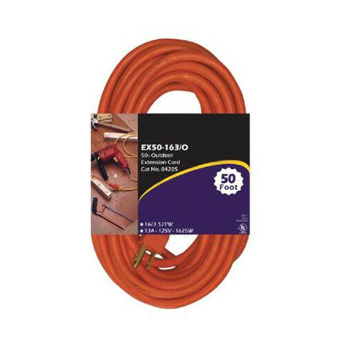 SUNLITE EX100-14 3 Heavy Duty orange 100 foot Extension Cord