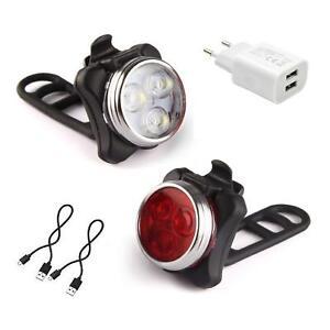 AMANKA Luci per Bicicletta Set Luce Bici LED Light con 5V/2A Caricabatterie 3...