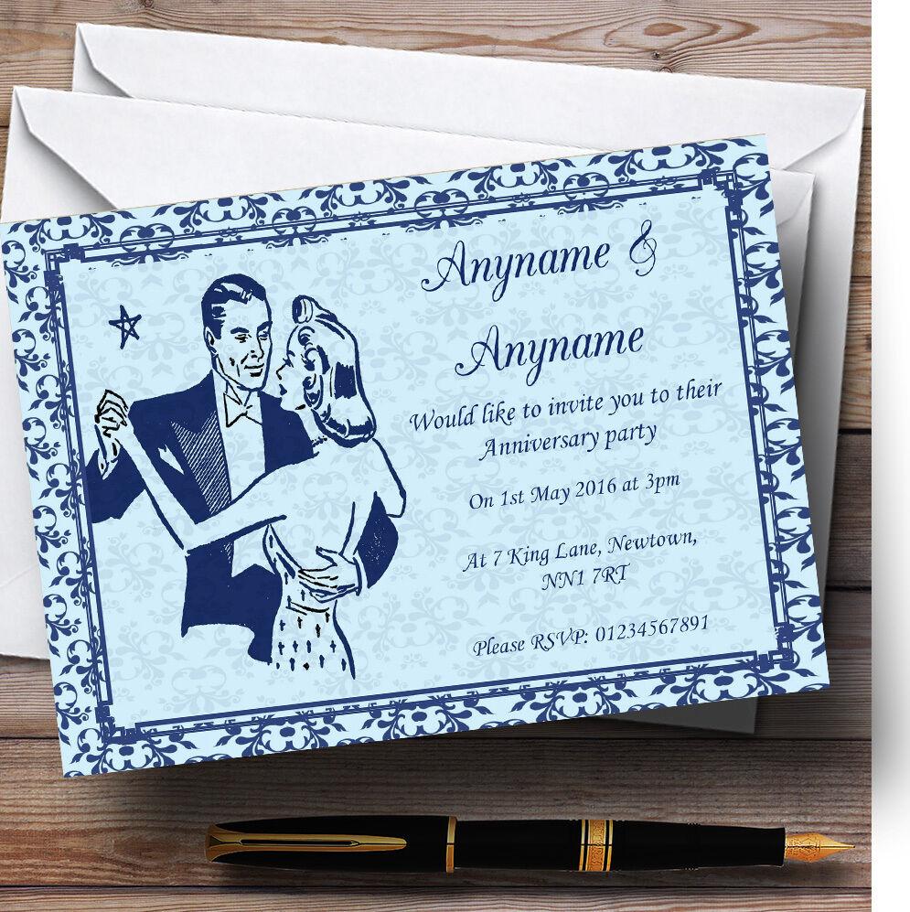 Blue classic vintage invitations personnalisées personnalisées invitations Fête Anniversaire bb33f4