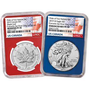 2019-Pride-of-Two-Nations-FDOI-NGC-PF-70-Flags-Red-amp-Blue-Label-Canada-Set