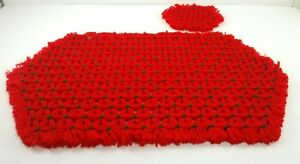 Crocheted Placemats And Coasters Red Green Christmas Handmade