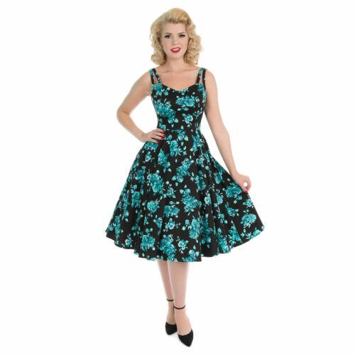 Vintage thé robe et Coeurs Sun Floral des 1950 de London Blue années Black rétro roses évasé va1qwYaT