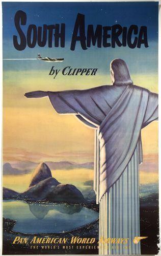 Vintage Pan Am South America Poster A3 / A2 Print