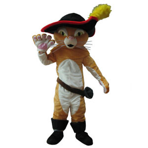 Cosplay Shrek Puss The Boots Cat Mascot Costume Suit Halloween Party Dress Adult Ebay