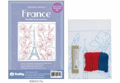 Tulipán Aguja Sashiko Mundial Francia Estampado Bordado Kit