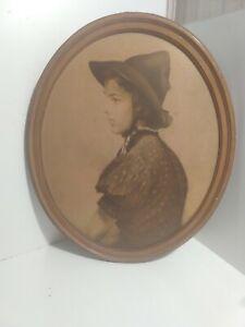 Vintage Oval Print on Plaster Dorothea by Edmund Magrath, A Finart Facsimile