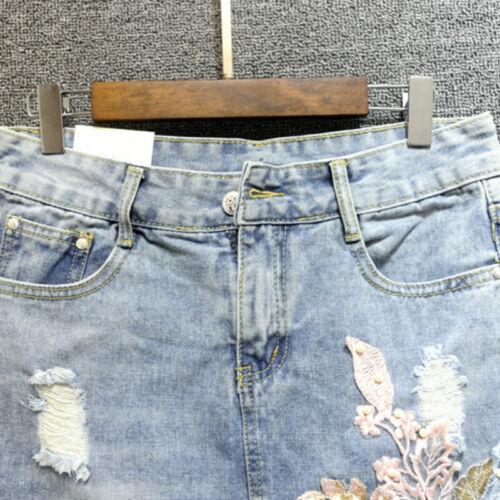 Lady 3D Floral Tassels Denim Skirt Distressed Fade Jean Irregular Back Slit