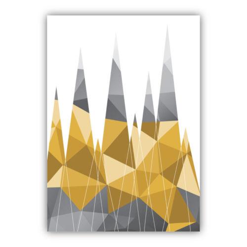 Impresión de arte geométrico Animal Bosque Colección Amarillo y Gris Galería Cartel Pared